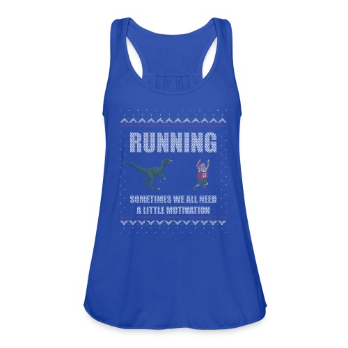 Ugly Christmas Sweater Running Dino and Santa - Women's Flowy Tank Top by Bella