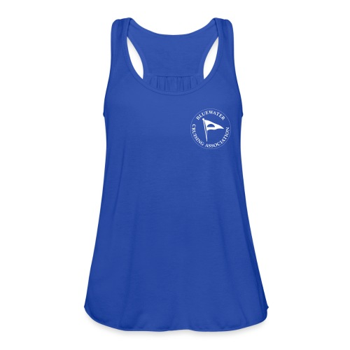 White Logo with Orca design back - Women's Flowy Tank Top by Bella