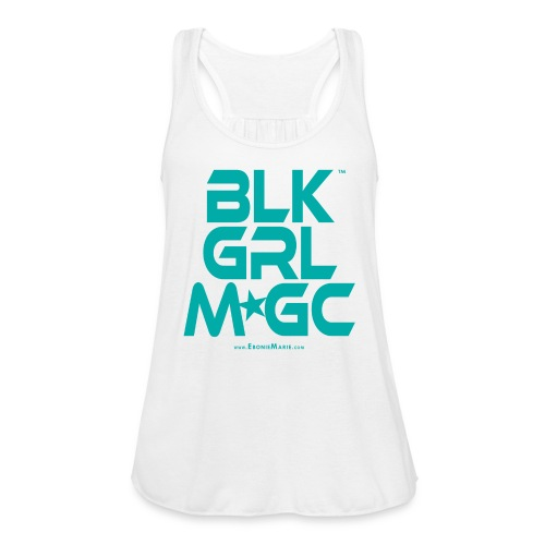 BLACK GIRL MAGIC ★★★ (TURQUOISE TEXT) - Women's Flowy Tank Top by Bella