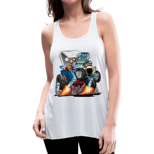 Custom T-bucket Roadster Hotrod Cartoon - Women's Flowy Tank Top by Bella