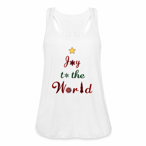 Joy to the world Christmas Tree Star Holiday Plaid - Women's Flowy Tank Top by Bella