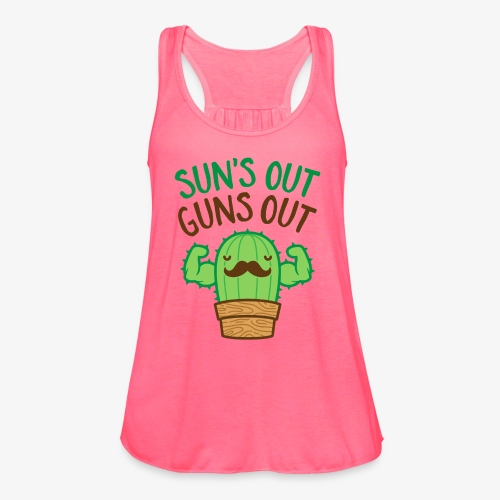 Sun's Out Guns Out Macho Cactus - Women's Flowy Tank Top by Bella