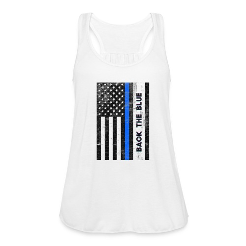 BACK THE Blue Police Officer USA - Women's Flowy Tank Top by Bella