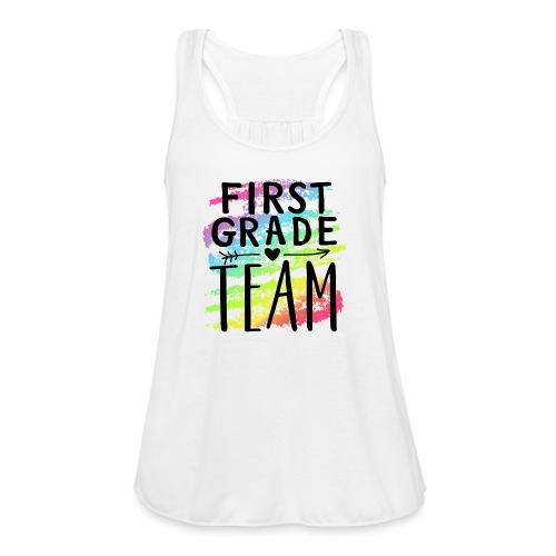 First Grade Team Crayon Splash Teacher T-Shirts - Women's Flowy Tank Top by Bella