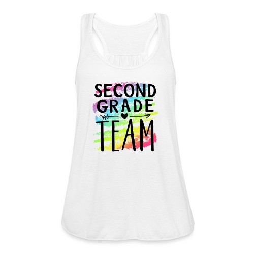 Second Grade Team Crayon Splash Teacher T-Shirts - Women's Flowy Tank Top by Bella