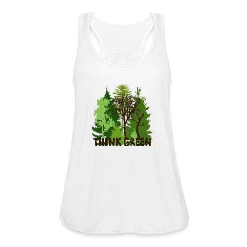 EARTHDAYCONTEST Earth Day Think Green forest trees - Women's Flowy Tank Top by Bella