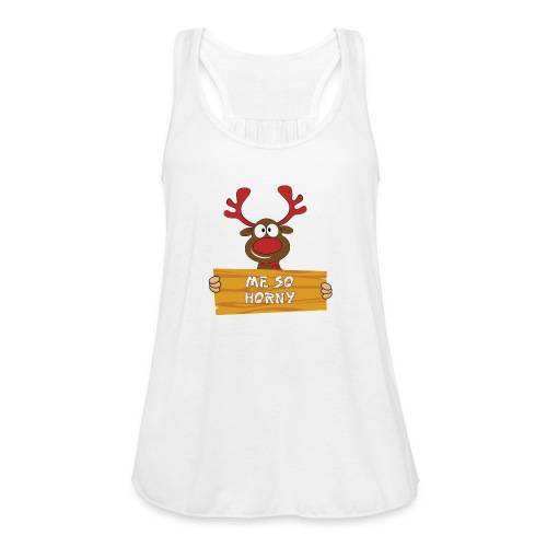 Red Christmas Horny Reindeer 3 - Women's Flowy Tank Top by Bella