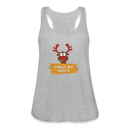 Red Christmas Horny Reindeer 1 - Women's Flowy Tank Top by Bella