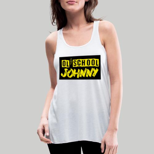 Ol' School Johnny Yellow Text on Black Square - Women's Flowy Tank Top by Bella