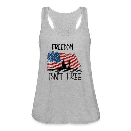 Freedom isn't free flag with fallen soldier design - Women's Flowy Tank Top by Bella