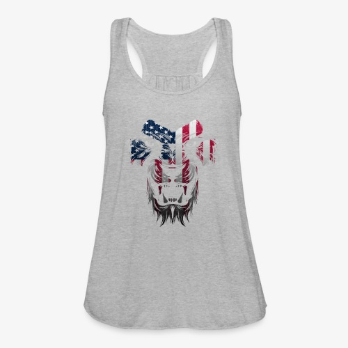 American Flag Lion Shirt - Women's Flowy Tank Top by Bella