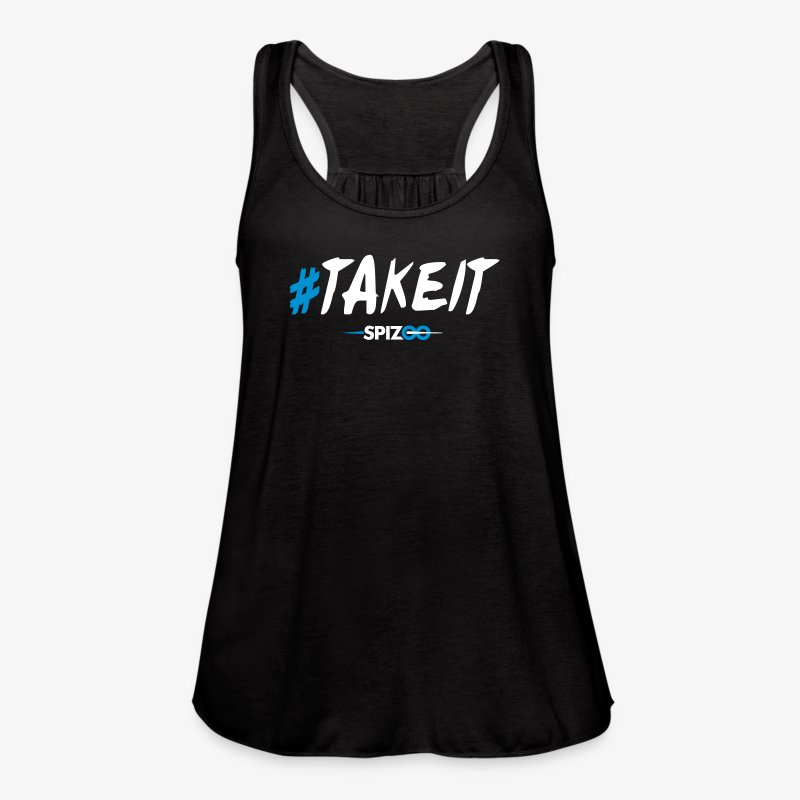 #takeit black - Spizoo Hashtags - Women's Flowy Tank Top by Bella
