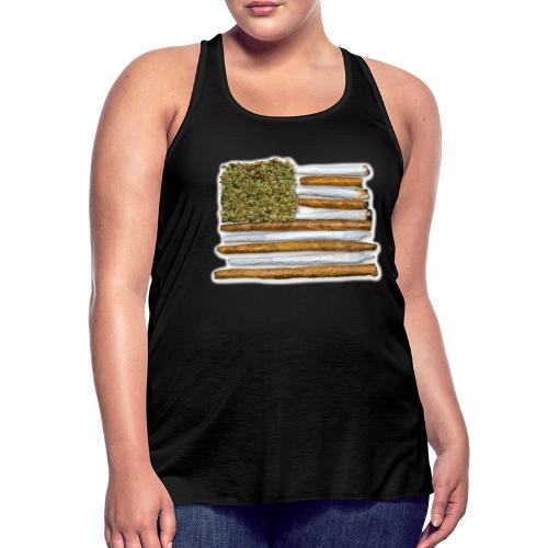 American Flag With Joint - Women's Flowy Tank Top by Bella