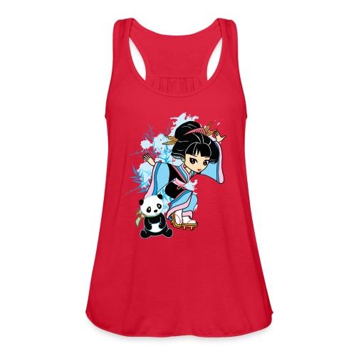 Cartoon Kawaii Geisha Panda Ladies T-shirt by - Women's Flowy Tank Top by Bella