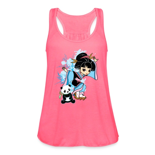 Cartoon Kawaii Geisha Panda Ladies T-shirt by - Women's Flowy Tank Top by Bella