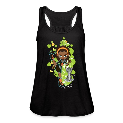 Aisha the African American Chibi Girl - Women's Flowy Tank Top by Bella