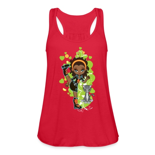 Aisha the African American Chibi Girl - Women's Flowy Tank Top by Bella