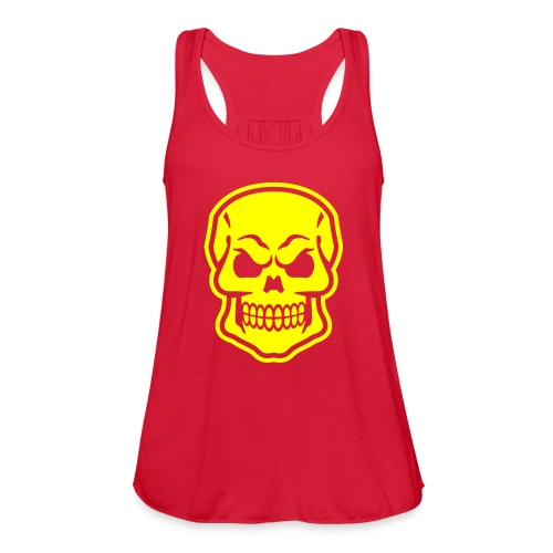 Skull vector yellow - Women's Flowy Tank Top by Bella