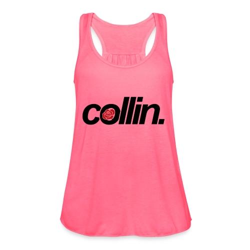 Collin. (Black w/ Rose) - Women's Flowy Tank Top by Bella