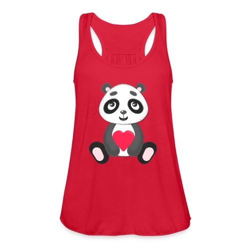 Sweetheart Panda - Women's Flowy Tank Top by Bella