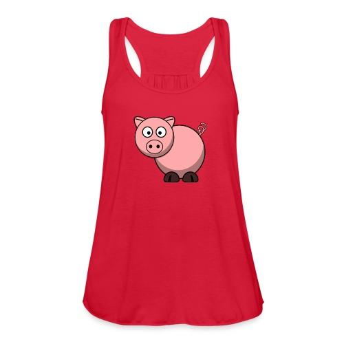 Funny Pig T-Shirt - Women's Flowy Tank Top by Bella