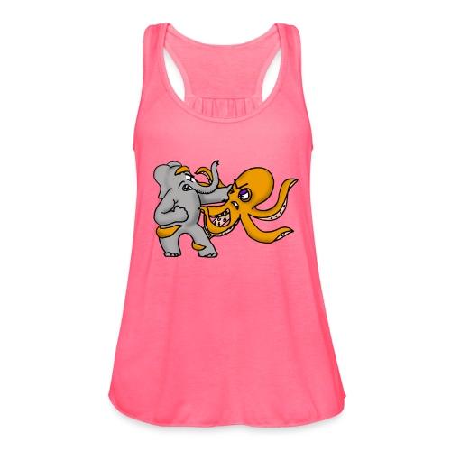 Elephant vs. Octopus T-Shirt - Women's Flowy Tank Top by Bella