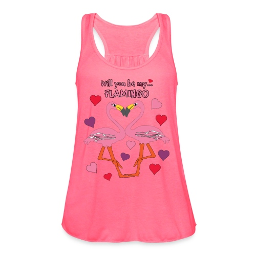 Will You be my Flamingo Valentine Kisses - Women's Flowy Tank Top by Bella