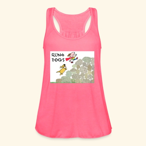 Dog chasing kid - Women's Flowy Tank Top by Bella
