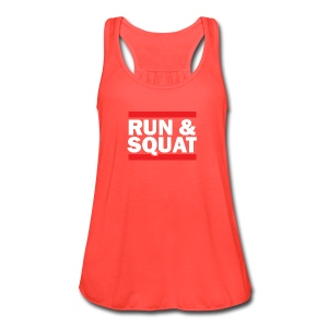 Run Squat White on Dark by Epic Greetings - Women's Flowy Tank Top by Bella