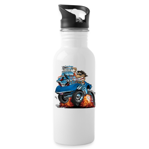 Classic '69 American Sports Car Cartoon - Water Bottle