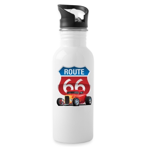 Route 66 Sign with Classic American Red Hotrod - Water Bottle
