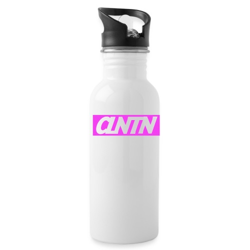 Magenta Box White Text png - Water Bottle