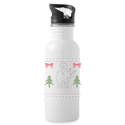 Ugly Christmas Sweater I Do What I Want Cat - Water Bottle