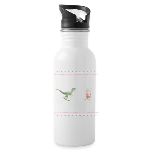 Ugly Christmas Sweater Running Dino and Santa - Water Bottle