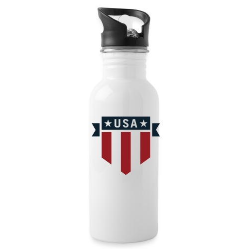 USA Pride Red White and Blue Patriotic Shield - Water Bottle