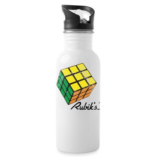 Rubik's Cube Solved Colourful Vintage - Water Bottle