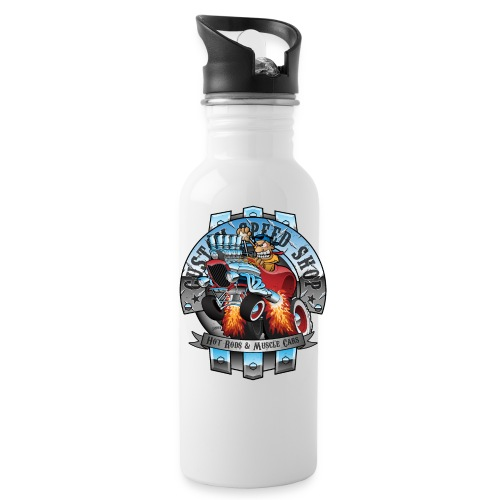 Custom Speed Shop Hot Rods and Muscle Cars Illustr - Water Bottle