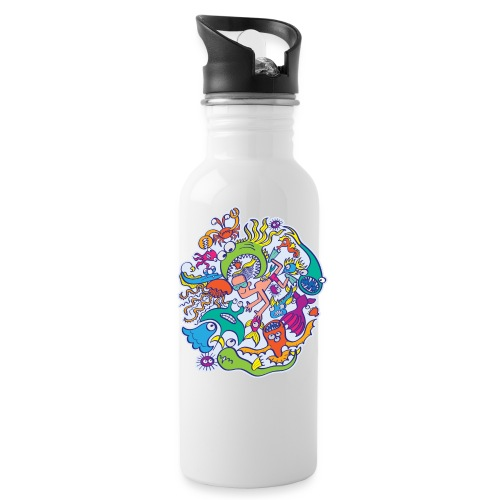Summer swimming with weird dangerous sea creatures - Water Bottle