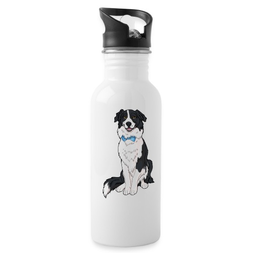 Border Collie Frankie - Transparent Background - Water Bottle