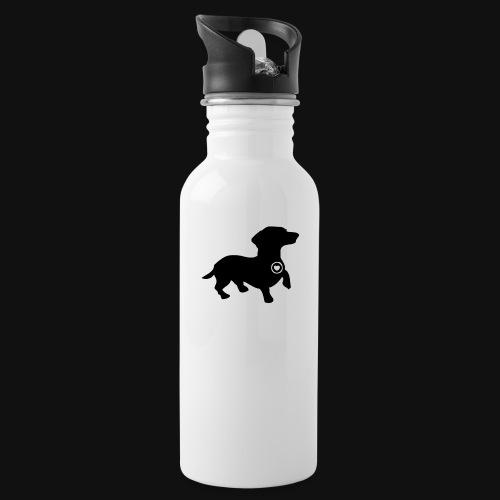 Dachshund love silhouette black - Water Bottle