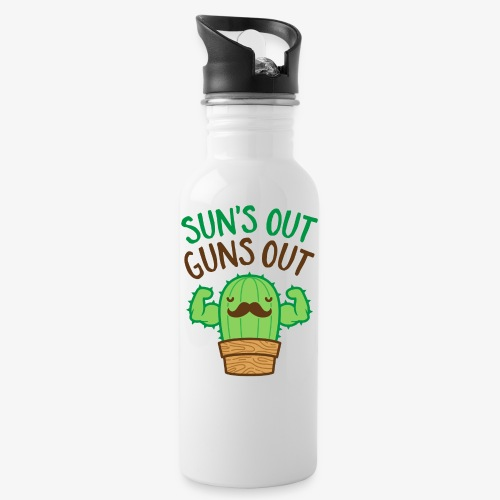 Sun's Out Guns Out Macho Cactus - Water Bottle