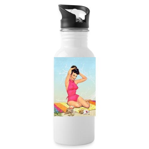 Girl in the sea, retro illustration - Water Bottle