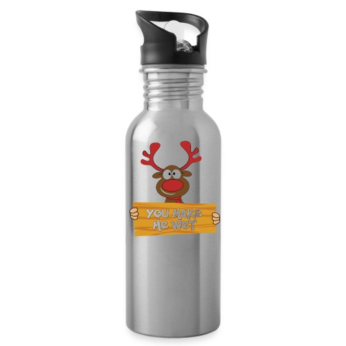 Red Christmas Horny Reindeer 5 - Water Bottle