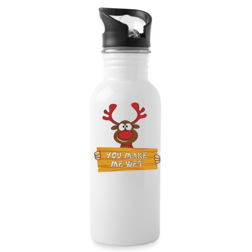 Red Christmas Horny Reindeer 2 - Water Bottle