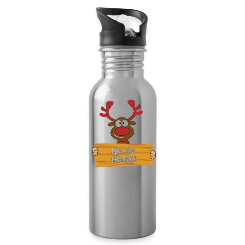 Red Christmas Horny Reindeer 6 - Water Bottle