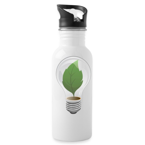 Clean Energy Green Leaf Illustration - Water Bottle