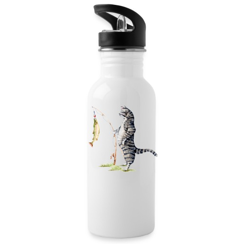 Cat with Fish by Goosi - Water Bottle