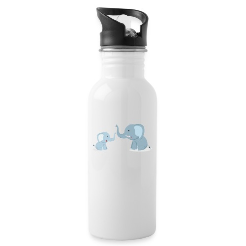 Father and Baby Son Elephant - Water Bottle