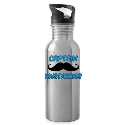 Captain Mustachios Logo For Spreadshirt T Shirt pn - Water Bottle
