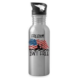 Freedom isn't free flag with fallen soldier design - Water Bottle